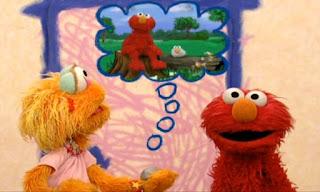 Zoe's friend Rocco is imagining Elmo is a rock. Elmo and Elmo Rock sit on a log. Sesame Street Elmo's World Friends Tickle Me Land