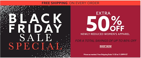 909a4c24d3147 BLACK FRIDAY at Lord & Taylor: 50% off newly reduced women's apparel and  FREE shipping sitewide with no minimum!