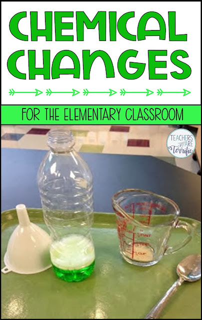Chemical Changes in the elementary classroom! Tips for completing experiments and demonstrations that will help your young students understand the difference between chemical and physical changes. #teachersareterrific #elementary #science