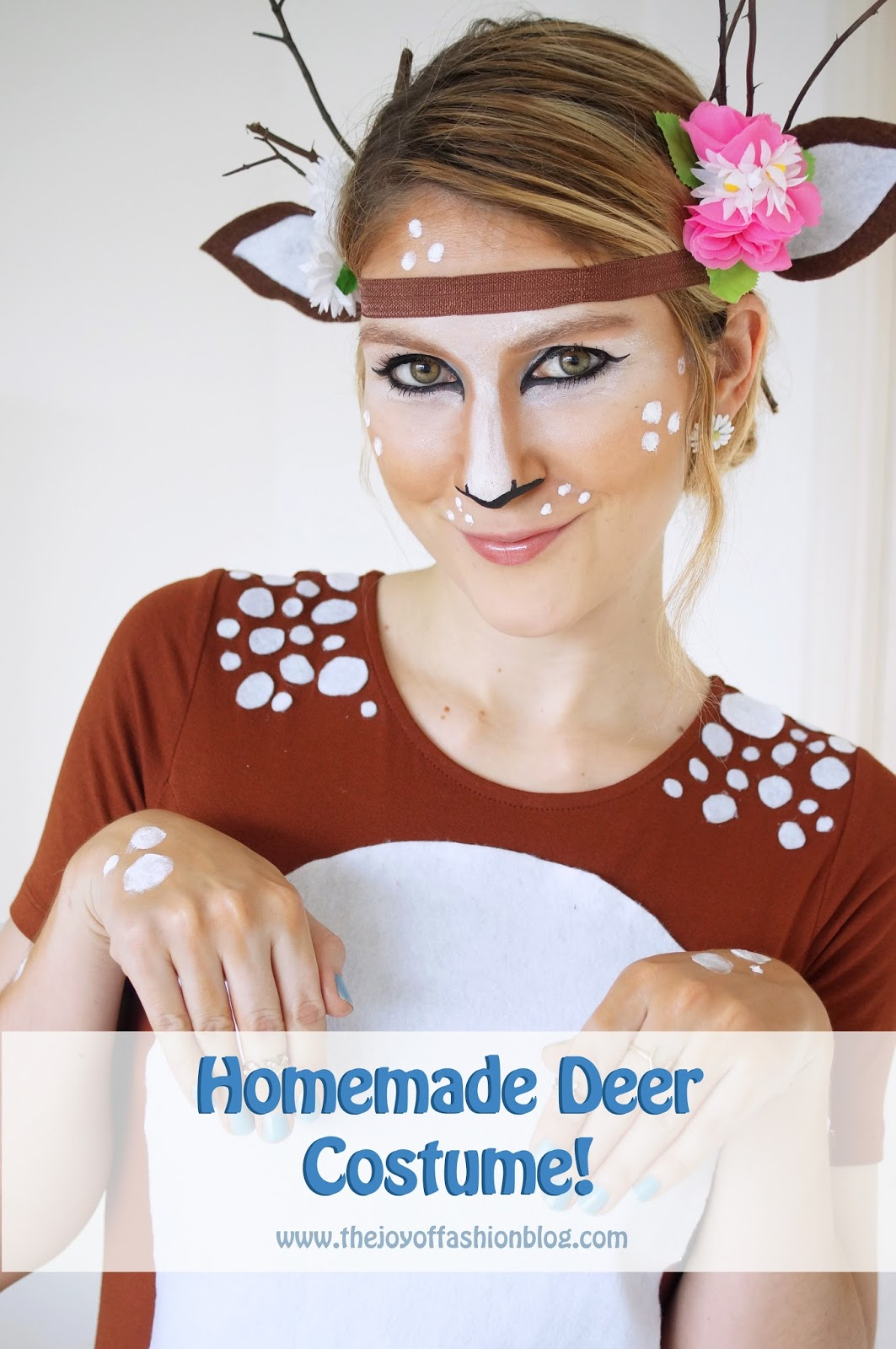 Click through for a full tutorial on how to make this adorable Deer costume for Halloween!
