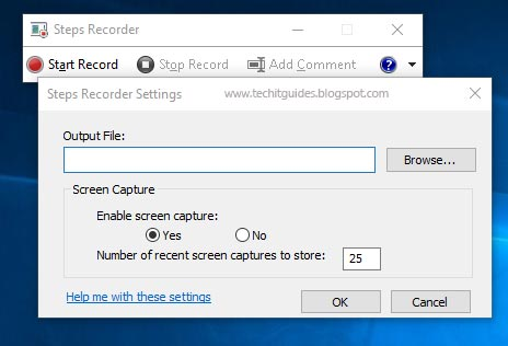 Steps Recorder Options