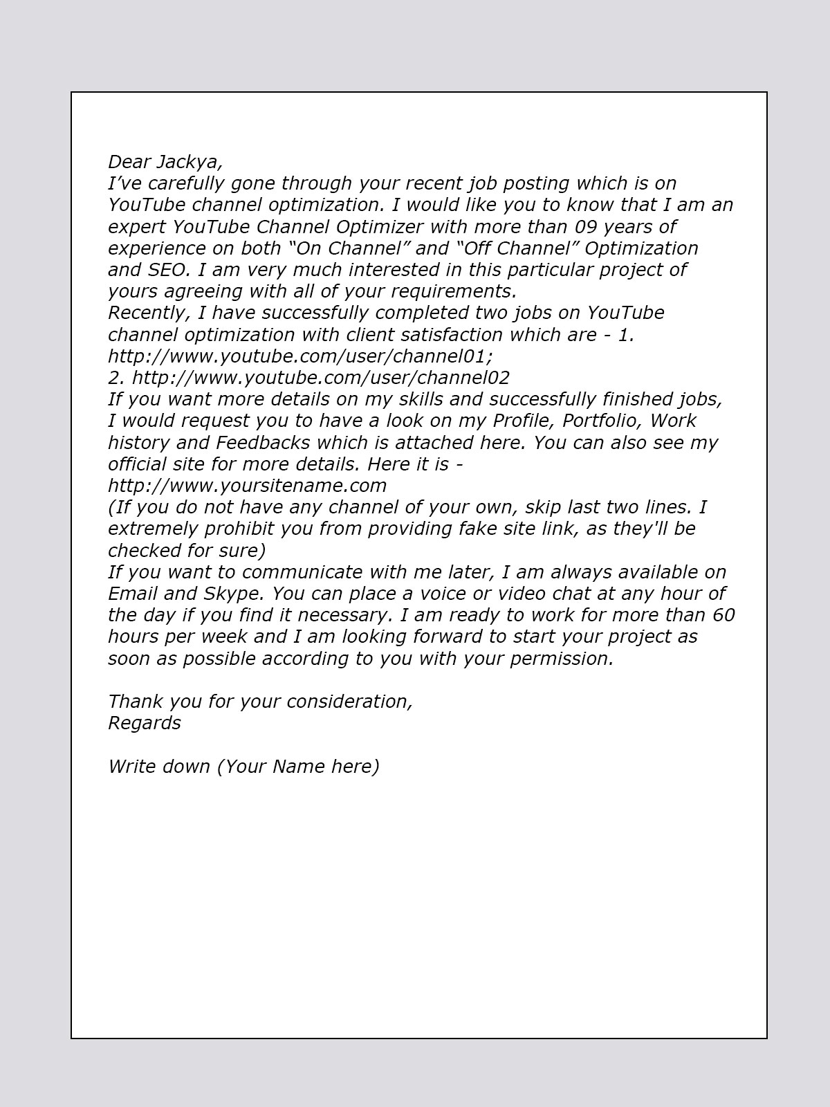 Cover Letter Sample For YouTube / Video Marketing