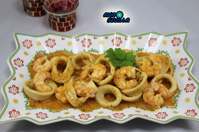 Calamares en salsa de langostinos Thermomix