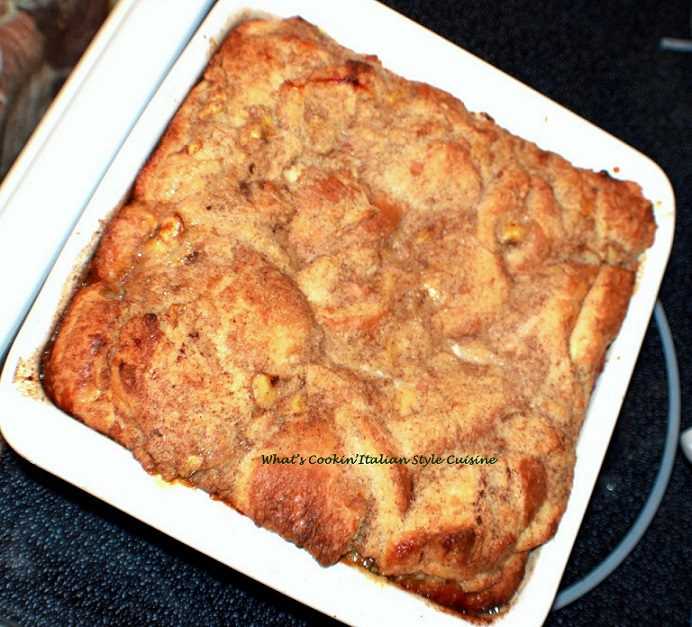 apple cake in a square pan made from scratch