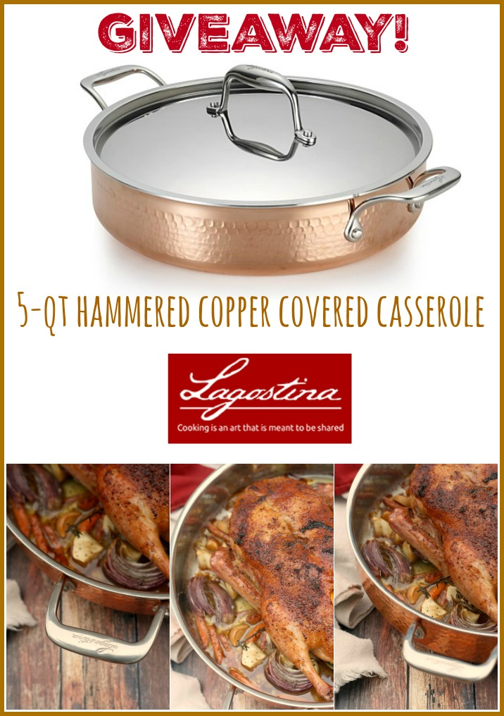 Lagostina martellata 5 qt hammered copper covered casserole giveaway