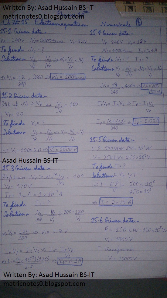 Matric 10th Physics Notes Chapter 15 Numerical Asad Hussain