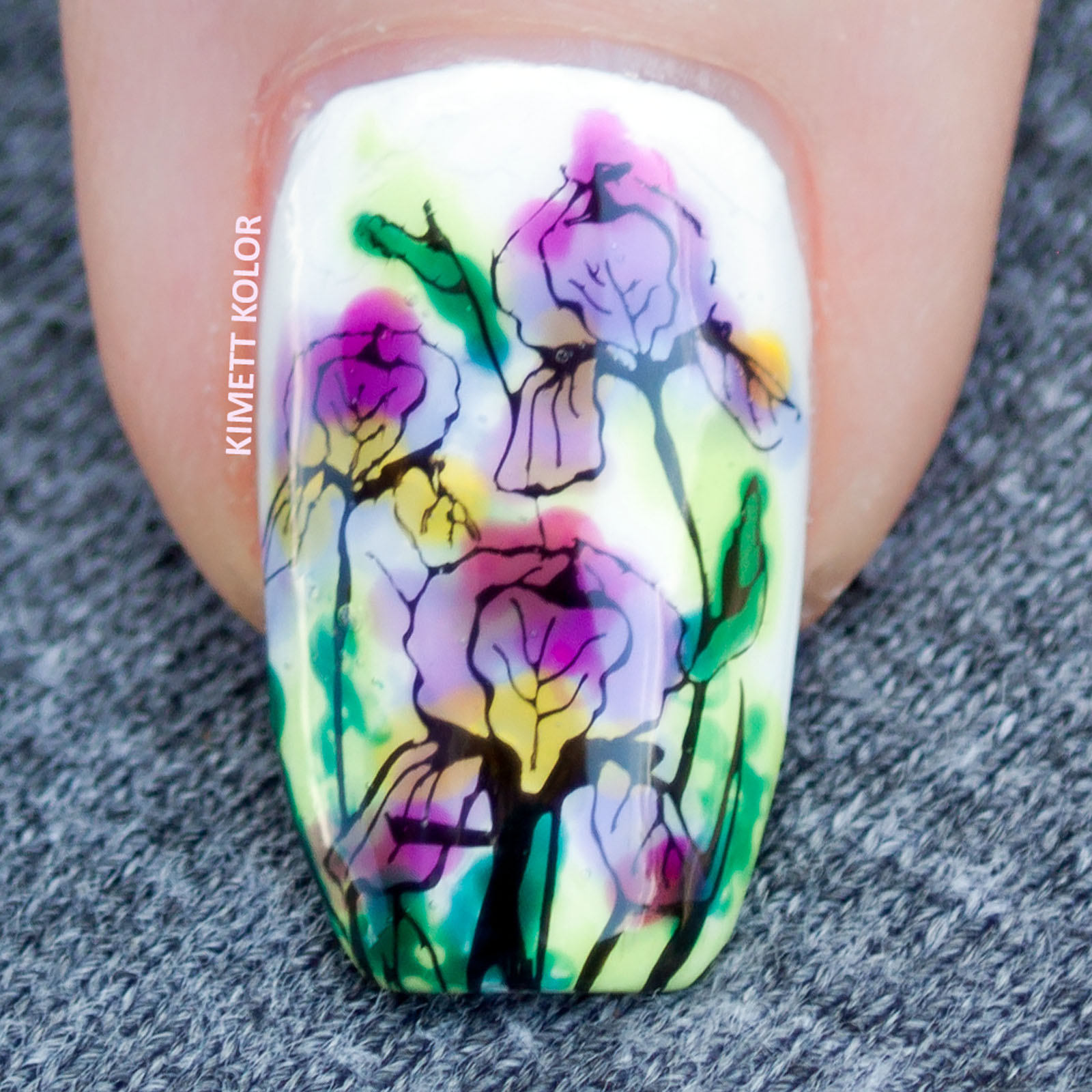 Kimett Kolor macro floral stamping nail art with jelly polish