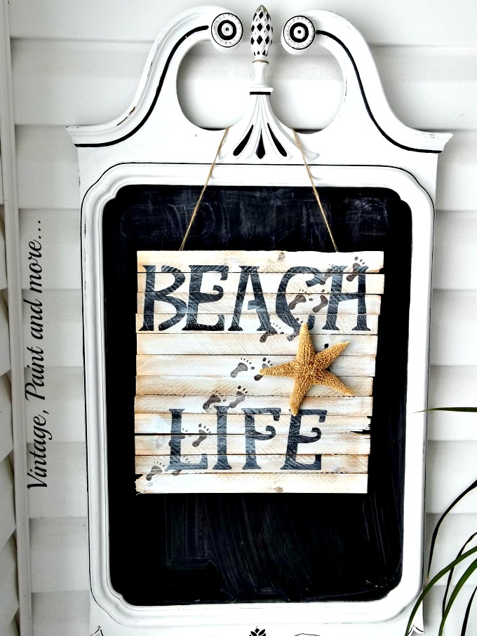 Vintage, Paint and more... wood sign, stenciled beach life sign, shell art, chalkboard from mirror