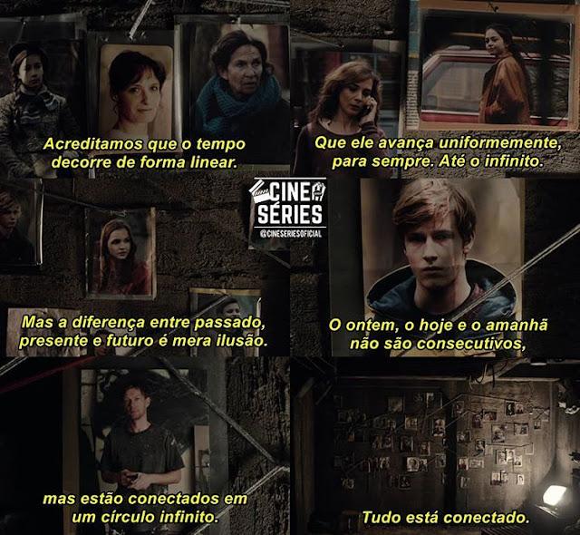 Imagem legendada com citações de um episódio da série Dark.