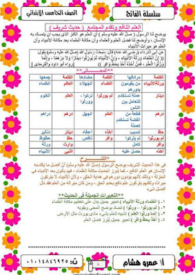 أحدث مذكرة لغة عربية للصف الخامس الابتدائى ترم اول 2021