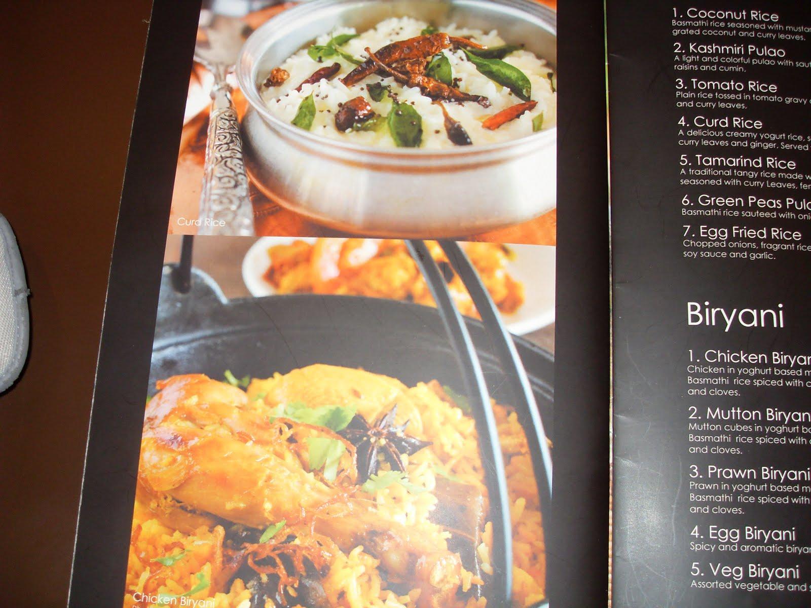 Indian Kitchen Menu Cyberjaya