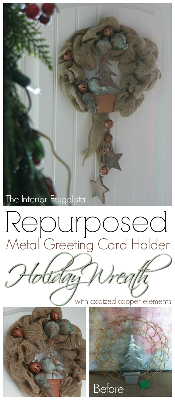 Creative way to repurpose a metal greeting card holder the metal greeting card holder repurposed into burlap holiday wreath m4hsunfo