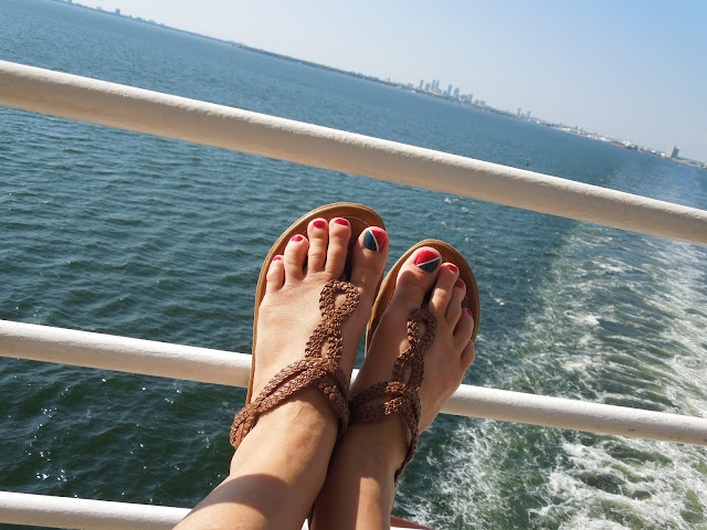 feet on railing
