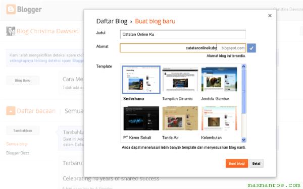 cara cepat membuat blog gratis