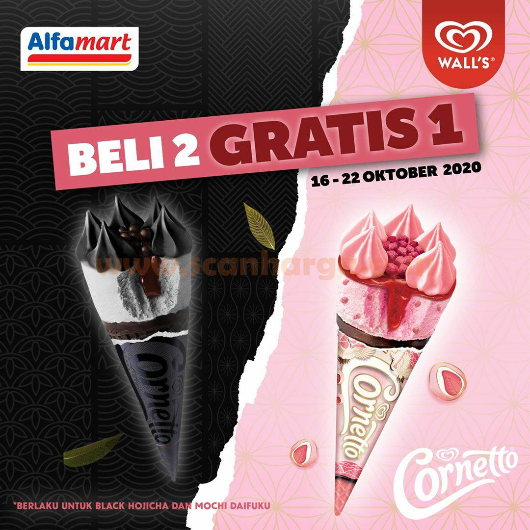 Alfamart Promo Ice Cream Wall's Black Hojicha dan Mochi Daifuku - Beli 2 GRATIS 1*