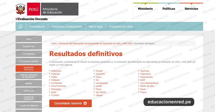 MINEDU: Resultados Finales de la Evaluación del Desempeño de Especialistas en Educación de UGEL y DRE 2020