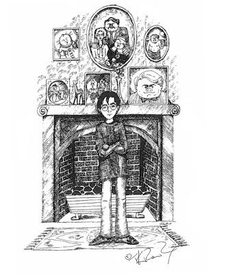 Disegno di J.K. Rowling: Harry nel salotto dei Dursley, al Numero 4 di Privet Drive