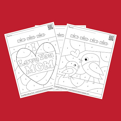 mother day color by number free preschool coloring pages to print