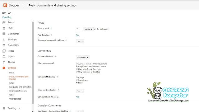 Cikarang Koputer - Settingan Dasar Untuk Blogspot