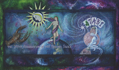 Watercolour painting featuring the Tarot cards, The Moon, The World, and The Star