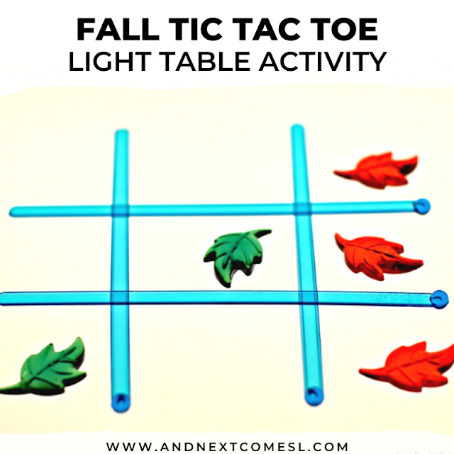 Fall tic tac toe light table activity