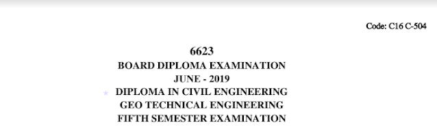 Diploma Previous Question Paper c16 civil 504 Geo Technical Engineering June 2019
