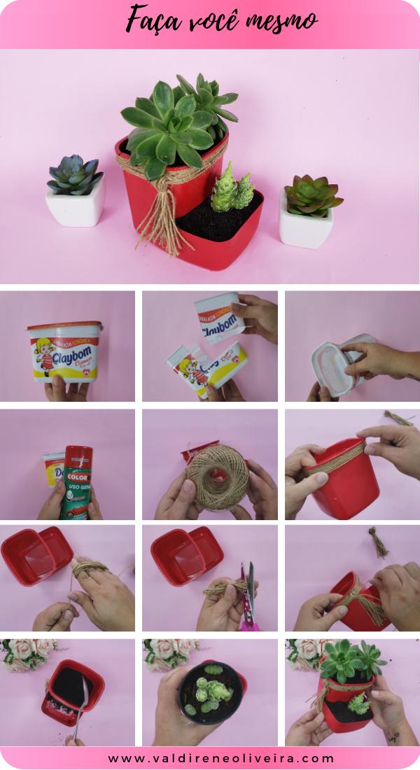 do it yourself -faca você mesmo vaso com pote de margarina