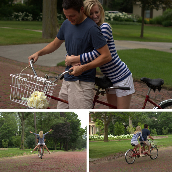 This happy engaged couple look blissful posing for their photo on the tandem bike.