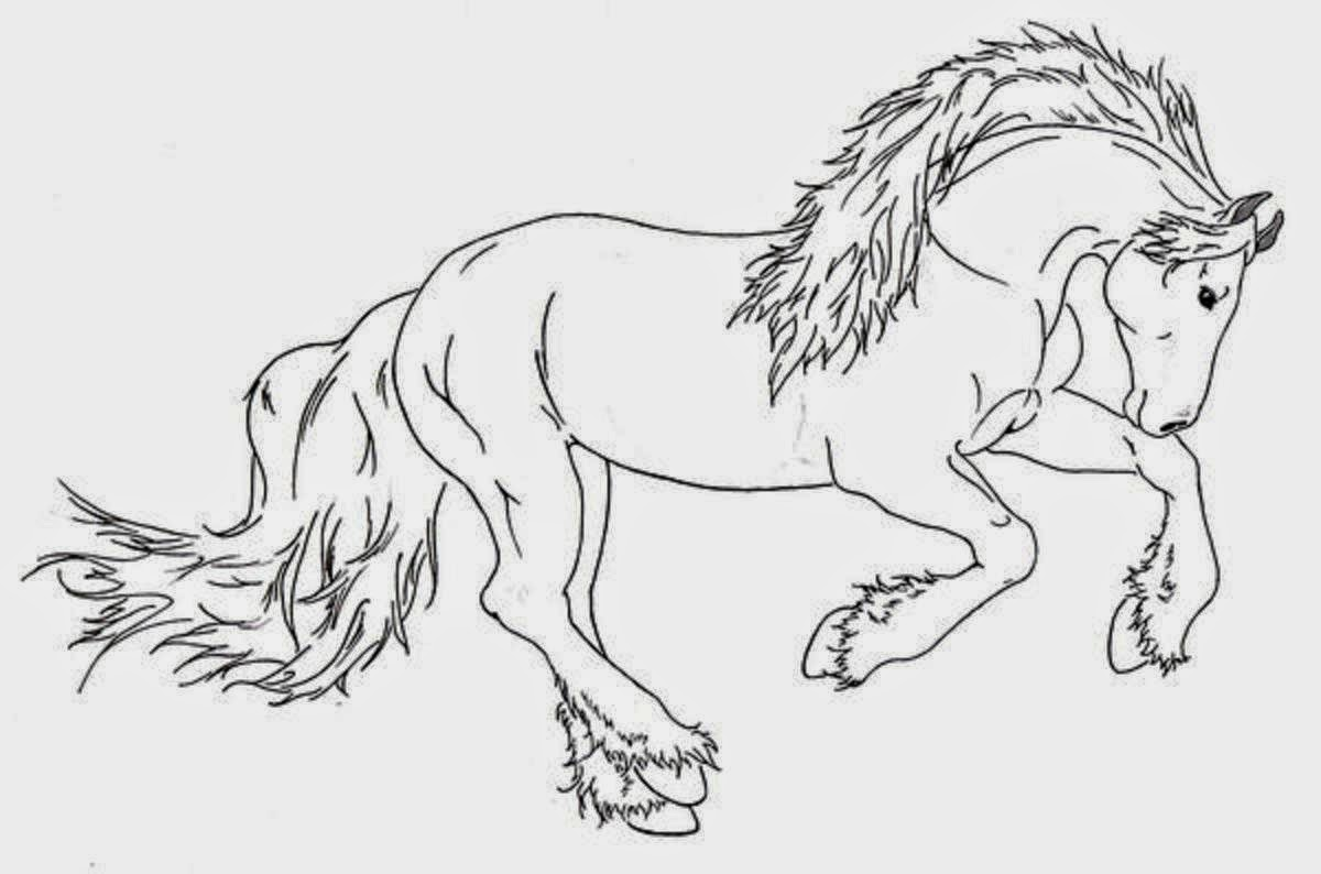 Colour Drawing Free Wallpaper: Horse For Kid Coloring