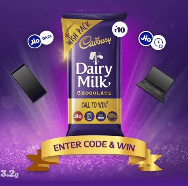 Cadbury Wishpack Jio Offer – Get Free Data/ TalkTime/ Mobile/ Laptop