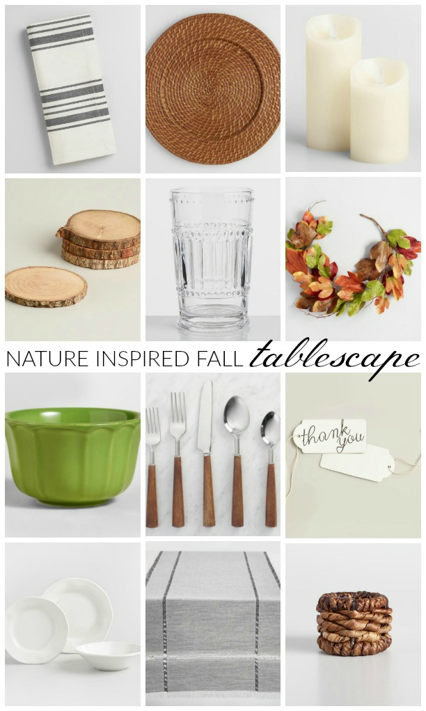 Neutral fall place setting, fall decor, tablescape