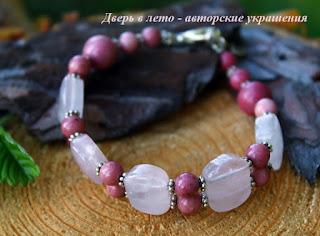браслет из родонита, розовый браслет