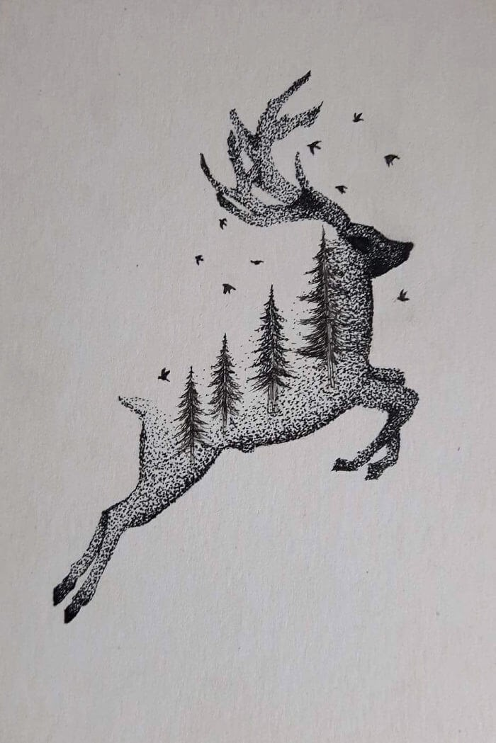 02-The-Stag-mARTin-Black-and-White-Stippling-Animal-Drawings-www-designstack-co