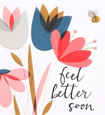 """Tarjeta con una ilustración de unas flores y una abeja y con las palabras """"Feel better soon"""""""