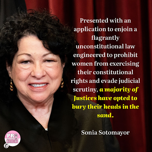 Presented with an application to enjoin a flagrantly unconstitutional law engineered to prohibit women from exercising their constitutional rights and evade judicial scrutiny, a majority of Justices have opted to bury their heads in the sand. — Sonia Sotomayor, Associate Justice of the Supreme Court of the United States
