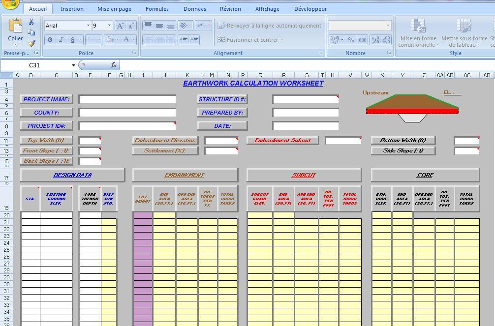 earthwork excel template sheet  xls - Civil engineering program