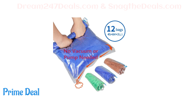 50%OFF 12 Rolling Compression Bags for Clothes, Ideal Travel Storage Bags