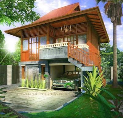 Rumah Kayu 2 Lantai Dengan Garasi