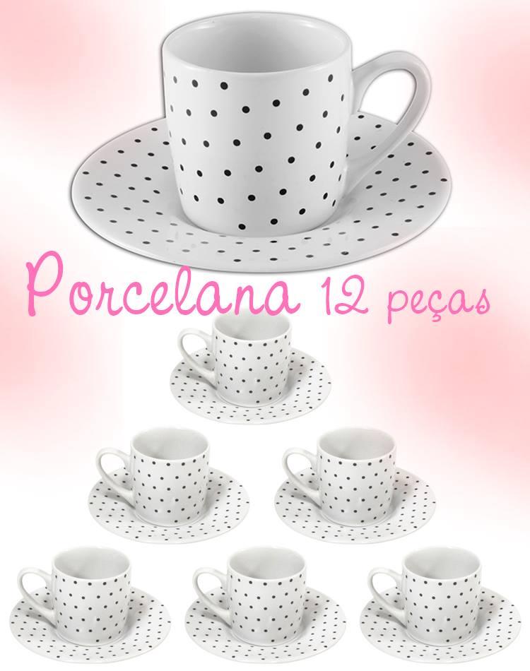 Xícara de porcelana poá café
