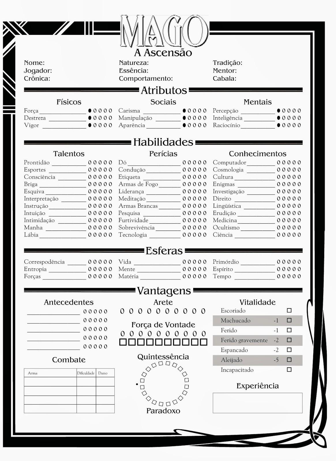 Ficha de Mago 2ª Edição PT-BR