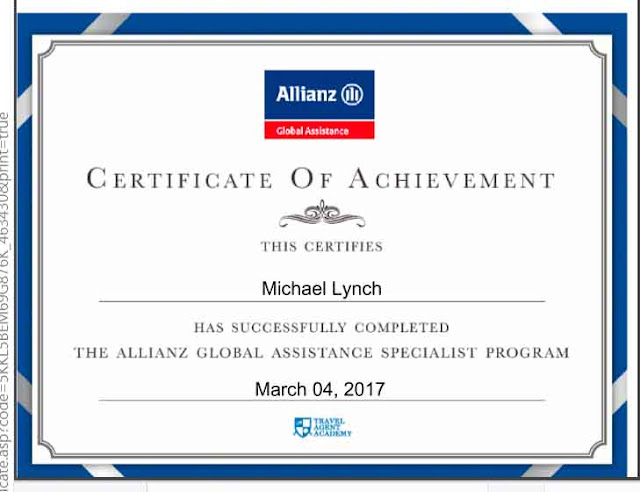 Allianz Global Assistance Specialist, certificate