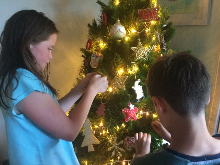 Decorating the Christmas Tree - at least it SMELLS like Christmas
