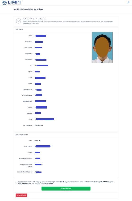 konfirmasi data verifikasi dan validasi data siswa di ltmpt tahun 2021 tomatalikuang.com