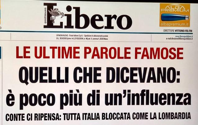 La coerenza del quotidiano LIbero e di Vittorio Feltri