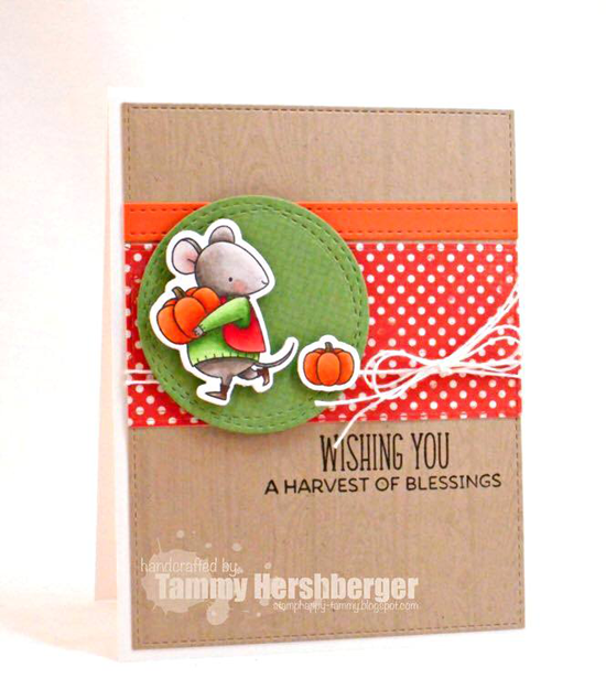 Birdie Brown Harvest Mouse stamp set and Die-namics, wood Plank Background stamp and Wonky Stitched Circle STAX and Blueprints 2 Die-namics - Tammy Hershberger #mftstamps