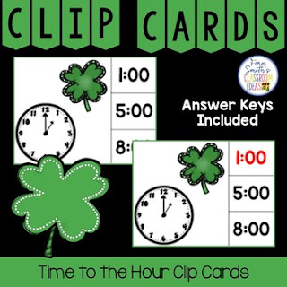 Time to the Hour Clip Cards Shamrock Themed