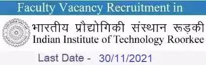 IIT Roorkee Faculty Vacancy Recruitment 2021