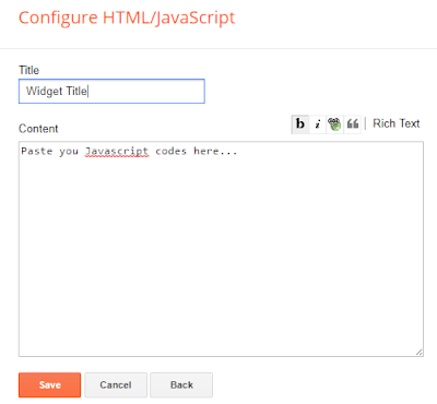 javascript codes to blogger gadgets