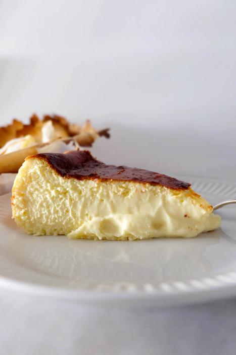 side view of Burnt Basque Cheesecake custard slice