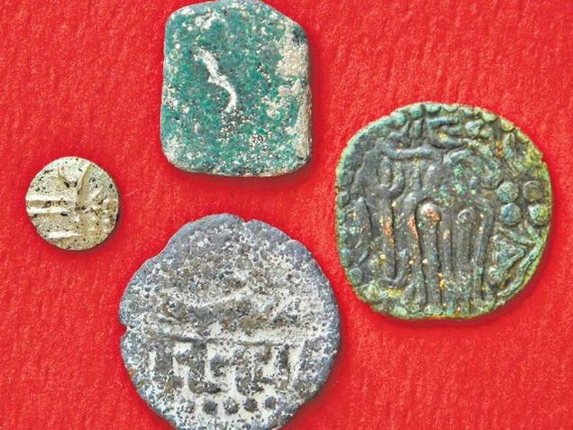 Ancient coins found during excavations at Senthalaipattanam village in Thanjavur district.